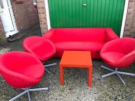 IKEA settee . Coffee table and three chairs.
