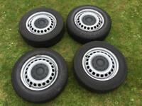 T5 set of 4 steel wheels with load rated tyres