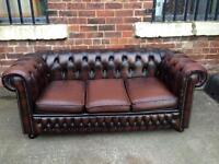 Brown Chesterfield Leather 3 Seater Sofa - UK Delivery