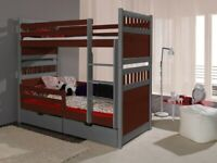 Kids Wooden bunk bed Sally with 2 mattress and 2 drawers EXPRESS DELIVERY