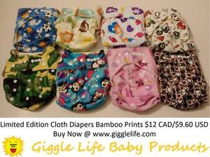 Giggle Life Cloth Diapers Reuseable Baby 7-36 lbs Adjustable One Size Microfiber, Suede, Bamboo, Youth & Adult Sizes