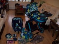 COSATTO WOOP 3 IN 1 TRAVEL SYSTEM PUSHCHAIR,CARRYCOT + COSATTO HOLD CAR SEAT IN NIGHTBIRD + ISOFIX