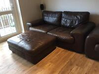 3 seater + double chair and footstool leather DFS