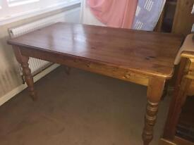 Antique Pine Country Table with 4 Chairs and covers