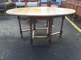 Beautiful Antique Oak Drop Leaf Dining Table