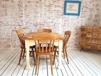Rustic Farmhouse Extending Dining Table Set - Drop Leaf Painted in F&B Ergonomic, Space Saving