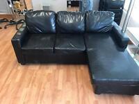 Black l shaped corner sofa