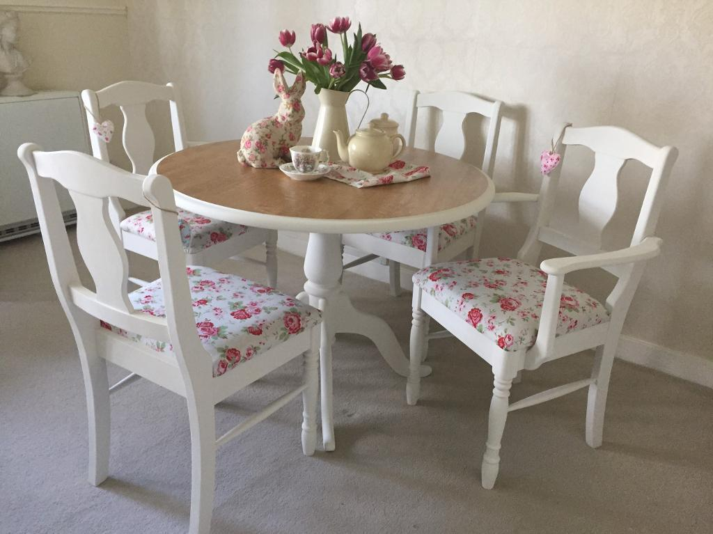 Farmhouse Table And Chairs Shabby Chic Kitchen Dining 4