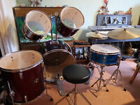 Drum kit - full 7 piece plus stands, stool and drumsticks