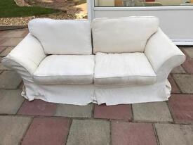 Cream 3 seater sofa with matching armchair