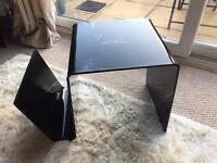 Black Gloss Side Table and Magazine Rack