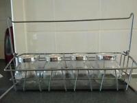 2 ikea wire steel silver baskets with 7 storage jars