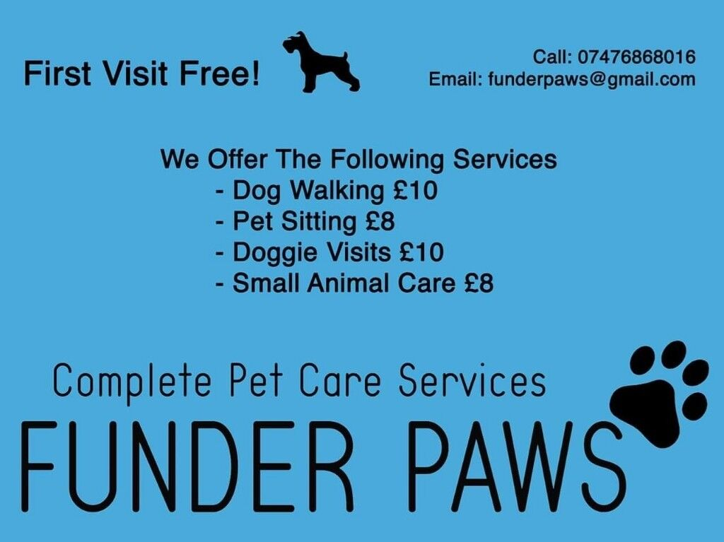 Funder Paws your new local dog walking/pet care service looking afyer your pet in your busy world
