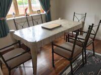 Unique set of 6 antique dining chairs