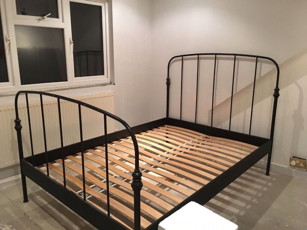 Ikea Black Double Metal Bed Frame Lillesand Can Deliver In