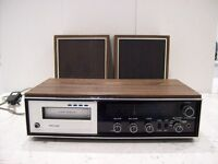 8 TRACK STEREO CARTRIDGE PLAYER/RECEIVER & 55 CARTRIDGES.