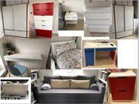 Ikea furnitures (desk, drawer, table, sofa...)