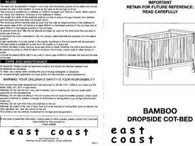 East Coast Bamboo cot bed + microfibre spring mattress + bedding