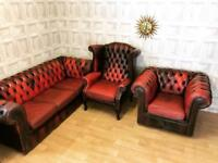Oxblood Red Chesterfield Suite - Sofa / Wingback / Club Chair