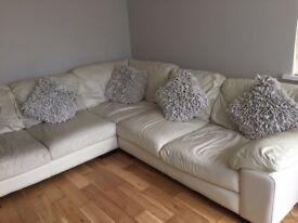Cream leather corner sofa excellent condition