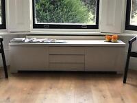 IKEA low TV bench unit Besta BursWhite high gloss