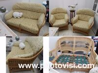 large 3 piece CONSERVATORY SUITE,cane,SPRUNG SEATS,sofa & 2 chairs,removable cushion covers