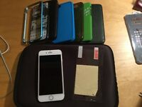 iPhone 6 64GB Unlocked Gold and White with MANY cases