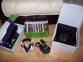 BOXED XBOX 360 SLIM 250GB CONSOLE AND KINNECT, HEAD SET AND HUGE BUNDLE OF 44 GAMES