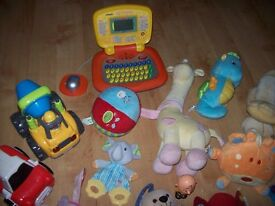 LARGE BUNDLE OF BABY AND TODDLER TOYS INC DISNEY TRAIN,CAR TORCH,GLOW SEA HORSE + MORE