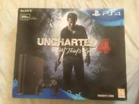 PLAYSTATION 4 WITH UNCHARTED 4 GAME - SEALED