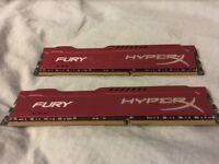 HyperX Fury 16GB DDR3 RAM (2 X 8 Sticks) Red