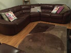 Leather corner sofa and armchair for sale