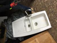 WHITE CERAMIC SINK AND TAP - OPEN TO OFFERS