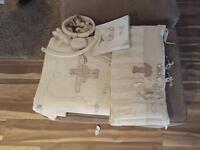 Baby clothes, cot and bumper set, high chair, children's toy