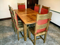 """Hornbeam"" Wood Kitchen Table and Six Matching Chairs"