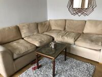 FREE! Great Sofa, L-Shaped, tan colour - collection only!