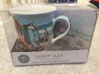 Beach hut coaster and mug set - perfect Xmas present