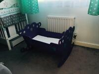 Beautiful rocking baby cradle with mattress