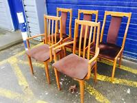 FREE TO UPLIFT 5 x Gorgeous Mid Century Teak Dining Chairs