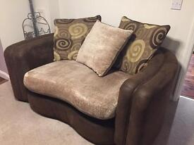 Brown nubuck leather cushion back couch, love seat, sofa, cuddle couch.