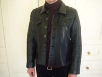 Vintage short black leather jacket