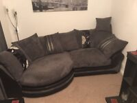 3 Seater Sofa and Armchair with Half Moon Footstool