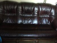 Leather 3 seater and single chair
