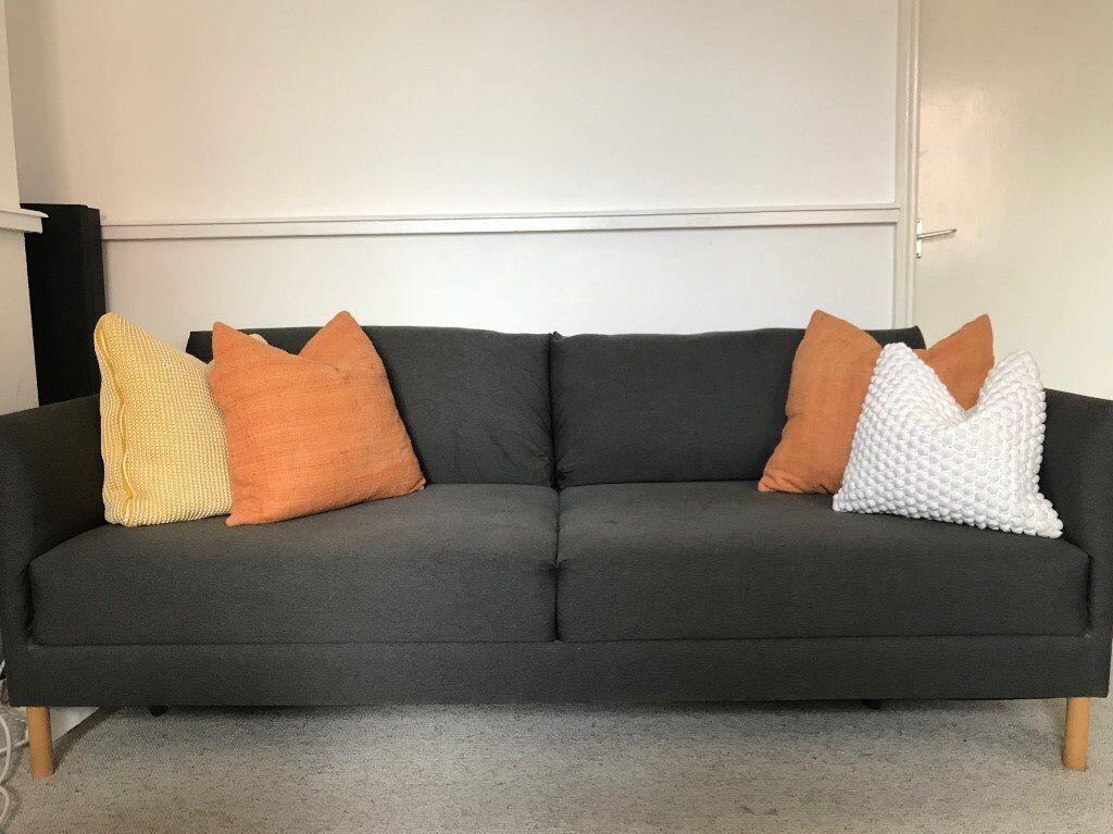 Comfortable Charcoal Habitat Hyde 3 Seater Sofa In
