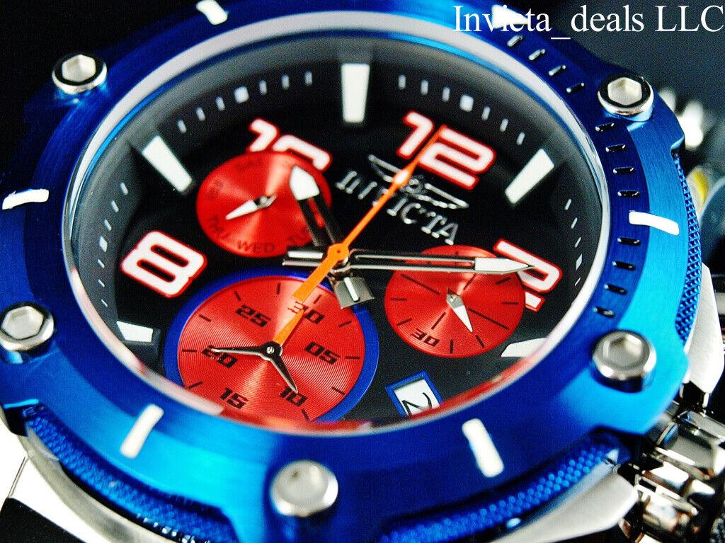 Invicta Mens 52mm SPEEDWAY VIPER TURBO SWISS Chrono Sapphire BlueRed Tone Watch