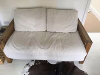 FUTON COMPANY OAK Double Futon Sofa Bed & Extra Cover/Cushions, Sofabed, COST £1168 + I CAN DELIVER