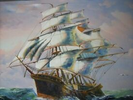 LARGE OIL PAINTING ON CANVAS BY THE LATE JOHN AMBROSE 25 X 35 INCHES