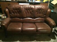 Real Leather Brown sofa