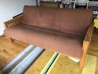 Great solid oak futon frame, 3 seater by Futon company with mattress