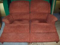 Double reclining sofa with top quality upholstery cover cost £1360 Glasswells good condition